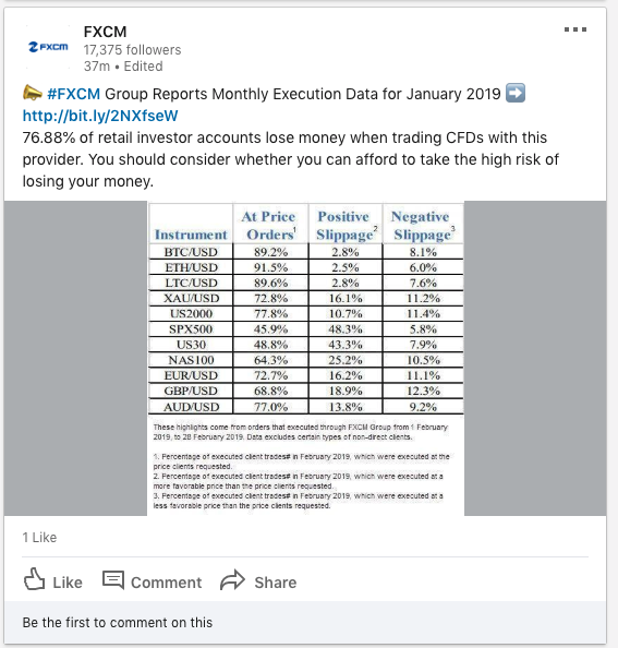 FXCM public communication - 11 march 2019